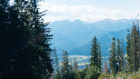Beautiful Landscape of Mountains, View at Zakopane. From the top of Gubalowka, Tatra Mountains in Poland Royalty Free Stock Photo