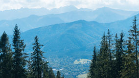 Beautiful Landscape of Mountains, View at Zakopane. From the top of Gubalowka, Tatra Mountains in Poland Stock Photography
