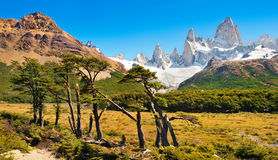Beautiful landscape with Mt Fitz Roy in Los Glaciares National Park, Patagonia, Argentina, South America Stock Images