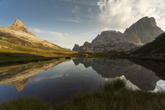 Beautiful landscape near to National Park Tre Cime di Lavaredo. Royalty Free Stock Image