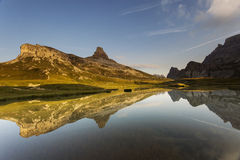 Beautiful landscape near to National Park Tre Cime di Lavaredo. Royalty Free Stock Photography