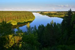 Beautiful landscape of Nemunas river loop in Lithuania stock photos