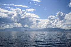 Beautiful landscape on the north sea in norway with clouds on a Royalty Free Stock Photography
