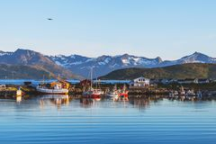 Beautiful landscape of Norway. Beautiful landscape of northern Norway, boats and mountains Stock Image
