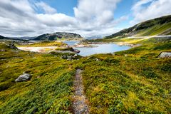 Beautiful landscape in Norway with a hiking trail leading through a valley with green grass and stones up to a blue lake in the mo royalty free stock photography
