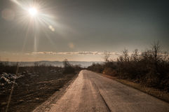 Free Beautiful Landscape Of Country Side Road With Trees In Winter Time At Sunset. Azerbaijan, Caucasus, Sheki, Gakh, Zagatala Stock Image - 85553581