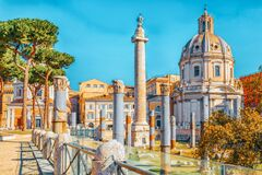 Free Beautiful Landscape Of The Rome- One Of The Oldest And Most Beautiful Cities In The World. View On The  Roma Antica, Trajan`s Stock Photo - 193707670