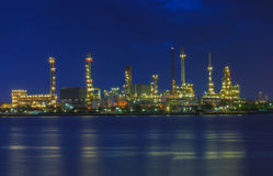 Beautiful landscape of oil refinery plant lighting in industry e Royalty Free Stock Image