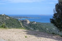 Beautiful landscape macchia vegetation archipelago Sardinia. Beautiful landscape over macchia vegetation and archipelago in Sardinia, Italy in March stock image