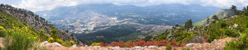 Beautiful landscape, panorama, banner - The Lycian Way in Olympos Beydagları National Park with a view of mountains. The Western Taurus, Antalya Province Royalty Free Stock Photo