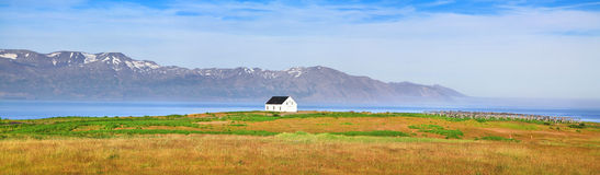 Beautiful landscape panorama with old house in Iceland Stock Photo