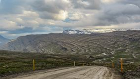 Beautiful landscape panorama with road in East fjords of Iceland, Europe stock images