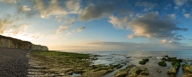 Beautiful landscape panorama sunset over rocky coastline Stock Photography