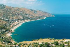 Beautiful landscape panorama Taormina Sicily Italy Royalty Free Stock Photos