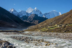 Beautiful Landscape of Pheriche Village (4240 m). Route of Lukla-Everest base camp. Stock Photo