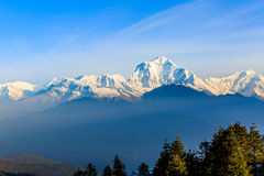 Sunrise view from Poon hill. Beautiful landscape photo of Dhaulagiri mountains from Poon hill stock images