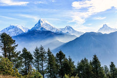 Sunrise view from Poon hill. Beautiful landscape photo of Dhaulagiri mountains from Poon hill stock image