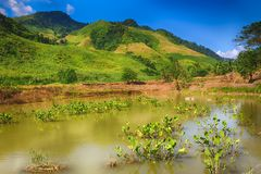 Beautiful landscape, pond on the foreground. Laos. Stock Image