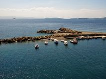 Beautiful landscape of the Port of Glossa at the Island of Skopelos Stock Photos
