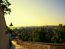 Beautiful landscape of Prague in sunrise time Royalty Free Stock Image