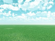 Beautiful landscape with puffy clouds Stock Photos