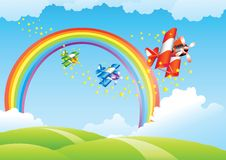 Beautiful landscape with rainbow. And flying airplanes Royalty Free Stock Photo