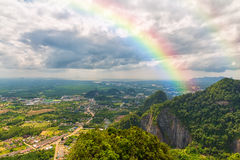Beautiful landscape with a rainbow in the sky Royalty Free Stock Image