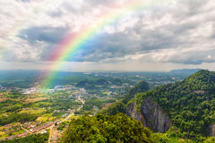 Beautiful landscape with a rainbow in the sky stock photo