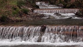 Beautiful landscape rapids on a mountains river and small waterfall stock video