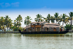 Beautiful landscape with reflection houseboat in kerala backwaters Stock Photography