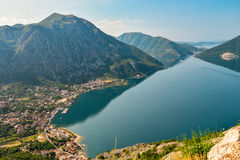 Beautiful landscape with Risan town. Sea and mountains. Montenegro seashore, Bay of Kotor Stock Image