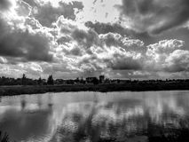 Beautiful landscape on the river in black and white image. Close-up Royalty Free Stock Photo