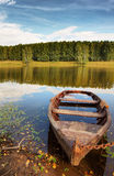Beautiful landscape on the river with a boat Stock Photography