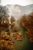 Beautiful landscape with river Cerna. Beautiful landscape with fog on the river Cerna Stock Photography