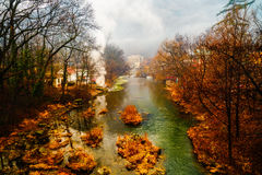Beautiful landscape with river Cerna Royalty Free Stock Images