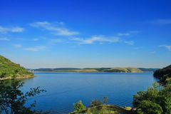 Beautiful landscape the river Dnister. Uninhabited bank blue sky of mountain space Stock Images