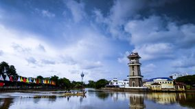 A beautiful landscape of river at north of Malaysia. The lighthouse with a background of tower Stock Photo