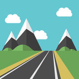 Beautiful landscape with road. Beautiful landscape with blue sky, white clouds and road leading to high mountains among green fields. EPS 8 vector illustration Royalty Free Stock Image