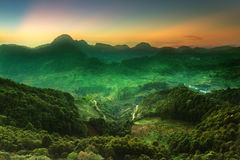Beautiful landscape the road way in  the valley during sunset. Royalty Free Stock Image