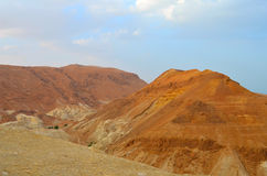 Beautiful landscape of rock formations and dunes. Along the Dead Sea coast, among sandy dunes.The landscape of the desert Royalty Free Stock Images