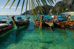 Beautiful landscape of rocks mountain and crystal clear sea with longtail boat Thailand. Summer, Travel, Vacation, Holiday concept. Summer, Travel, Vacation Royalty Free Stock Photo