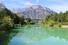 Beautiful landscape with the Salzach river, Austria. Stock Photography
