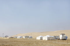 Beautiful landscape of sand dunes and camping huts Royalty Free Stock Photos
