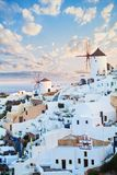 Beautiful landscape of Santorini island. Blue sky clouds and white village royalty free stock photography