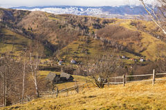 Beautiful mountain village landscape. Beautiful landscape of a scattered village in the Carpathians, taken in December 2014 Stock Images