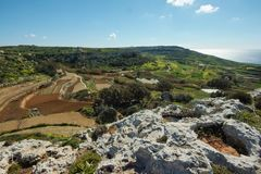 Beautiful landscape at Bahrija in Malta. Beautiful landscape and scenery at Bahrija in Malta Royalty Free Stock Images