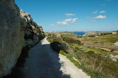Beautiful landscape at Bahrija in Malta. Beautiful landscape and scenery at Bahrija in Malta Royalty Free Stock Photography