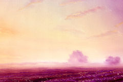 Beautiful landscape scenery with golden sky and purple fields at dawn, oil on canvas. Beautiful landscape scenery with golden sky and purple fields at dawn, oil stock illustration