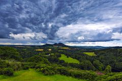 Beautiful landscape of Scott`s View in the Scottish Borders. Beautiful landscape of Scott`s View to the Eildon Hills and River Tweed in the Scottish Borders Stock Photo