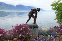Beautiful landscape with sculpture, Montreux, Switzerland Stock Photography